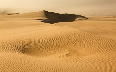 australia dry desert sand dune in NSW day time with dust storm approaching over waves of lifeless sand