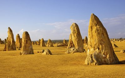 The Pinnacles, seen here like soldiers advancing into battle, are limestone formations contained within Nambung National Park, near the town of Cervantes in Western Australia.